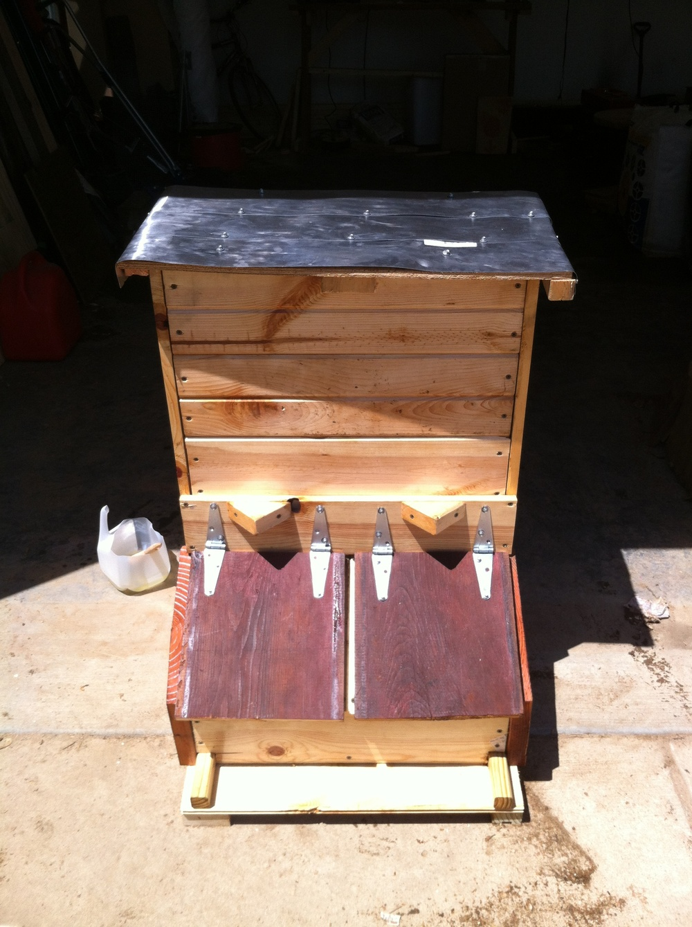 Pig feeder after being stained