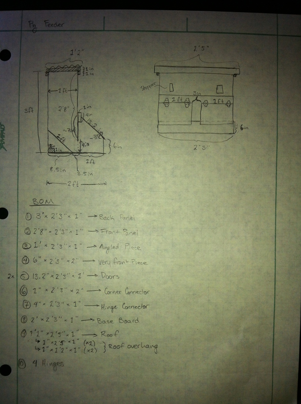 Drawn Pig Feeder Design and Bill of Materials