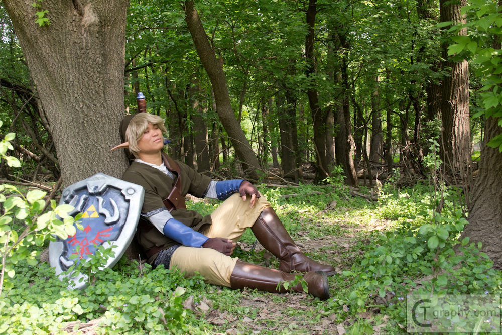 Amos as Link - pretty sure the poor guy actually fell asleep during the shoot!
