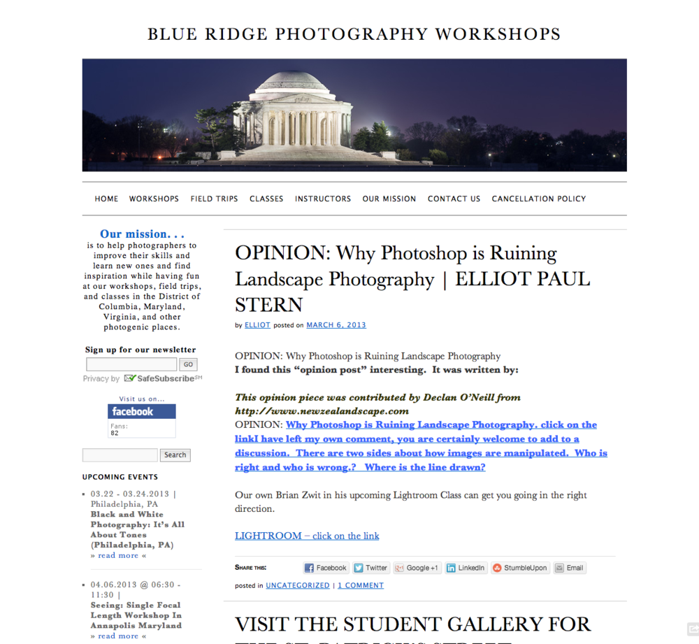 Blue Ridge Photography Workshops