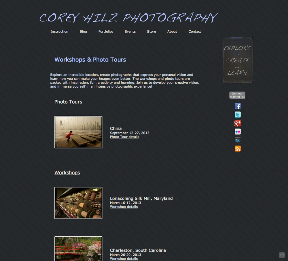Corey Hilz Workshops