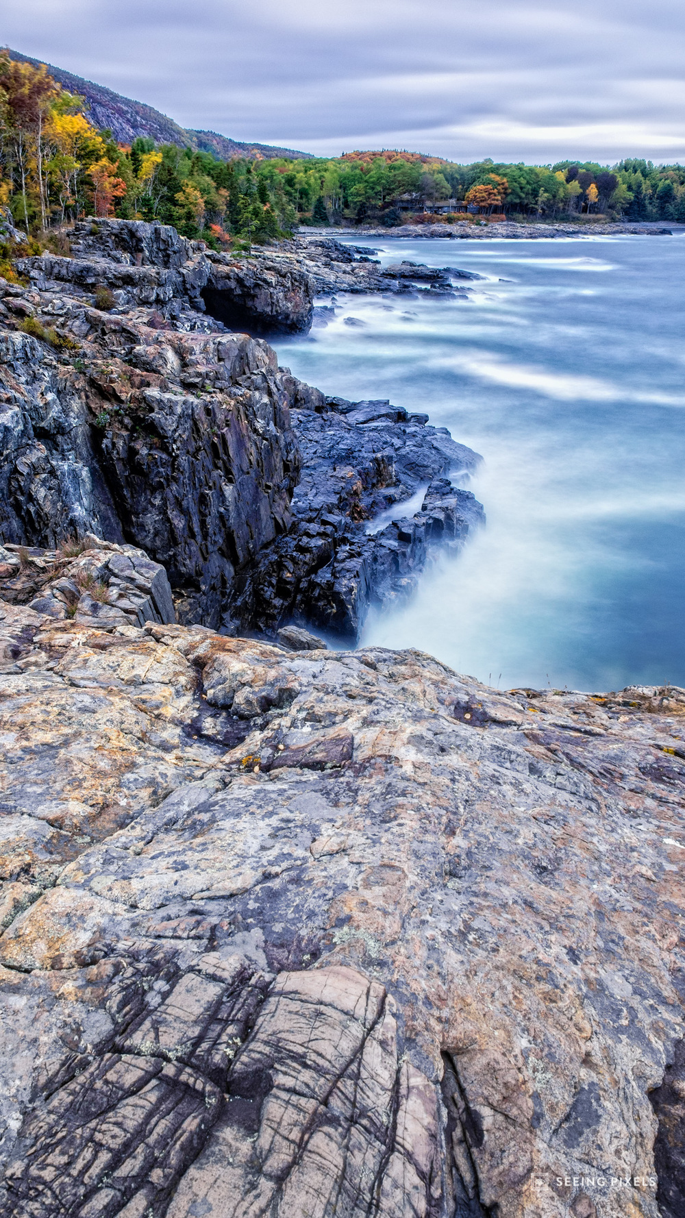 The Coastline is rugged, hard granite rock bustling up from the depths of the ocean
