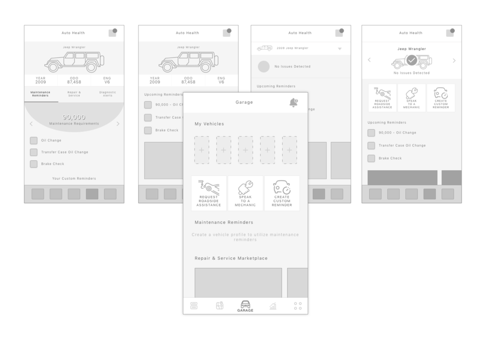 Example wireframes of the garage section.
