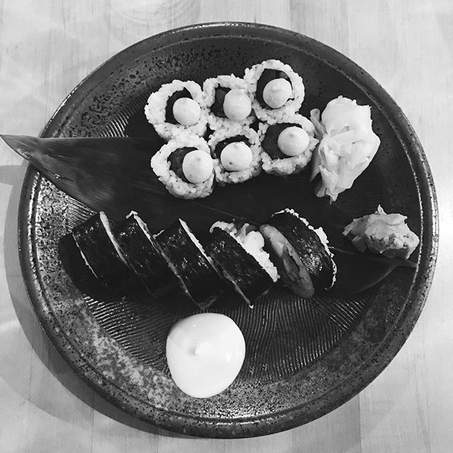 Sometimes it is black and white. To not have food and to have food. To be unfortunate or fortunate. This meal, I indulged - the finest sushi, each piece perfectly crafted in each roll. There are children starving in our own country, and I eat like a king. It is all about the haves and have nots. Why am I so blessed? Why am I nourished, when so many are not? If I could feed the world, I would. If I could feed their bellies, their minds, their souls, I would. If it meant me starving. I would. If it meant me watching them feast, I'd rather they have than me receive. And I suppose that is the deepest shame, I feel undeserving. Why me? When so many others need. Why do you live with no pain, when pain is all I heed? #sushi #blackandwhite #me #them #undeserving #thankful #hibino #selfloathe