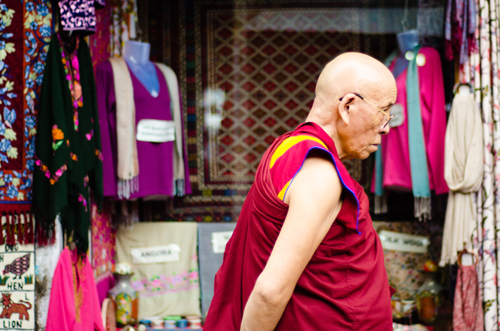 A monk walking on the streets of McLeod Ganj
