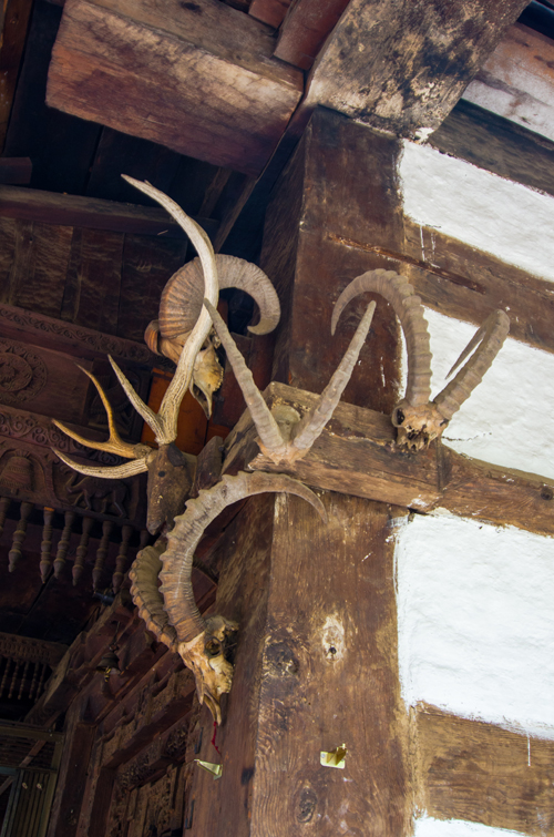 Goat and Ibex skulls adorn the exterior of the temple
