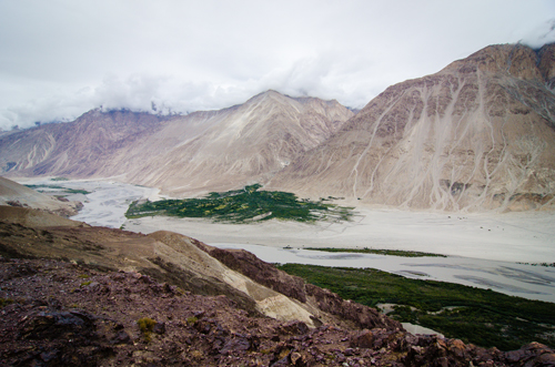 Shyok River with Karakoram Range in the background
