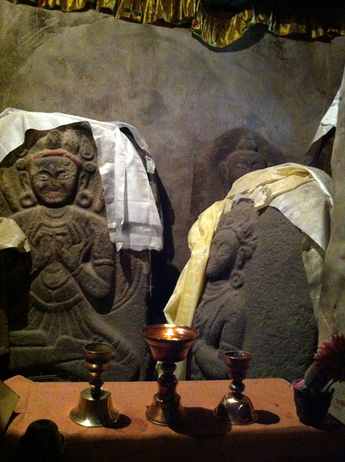 The ancient Buddha sculptures in the basement of Lala's