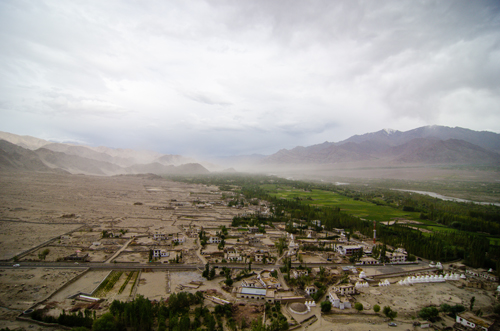 View of the Indus Valley from the top of Thikse, with the sandstorm rolling in