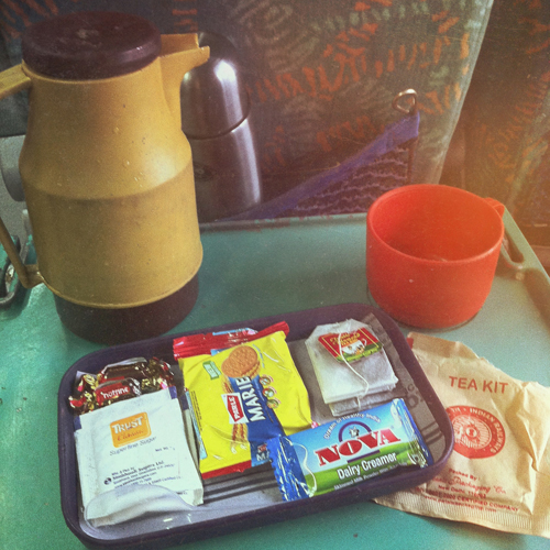 The cute tea kit on the train to Jaipur, with personal hot water jug