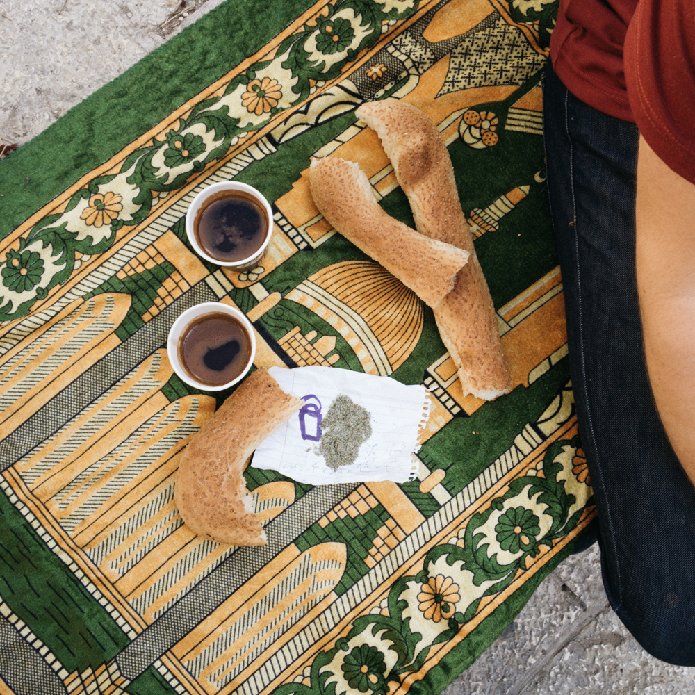 Arab coffee and bagel in the Old City