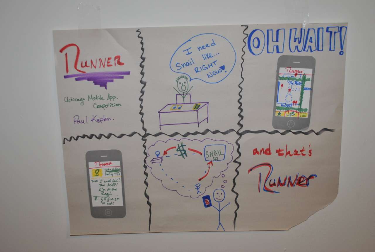 """Runner"" iPhone app idea, students post small tasks they want done and get people to run errands for them, for a price."