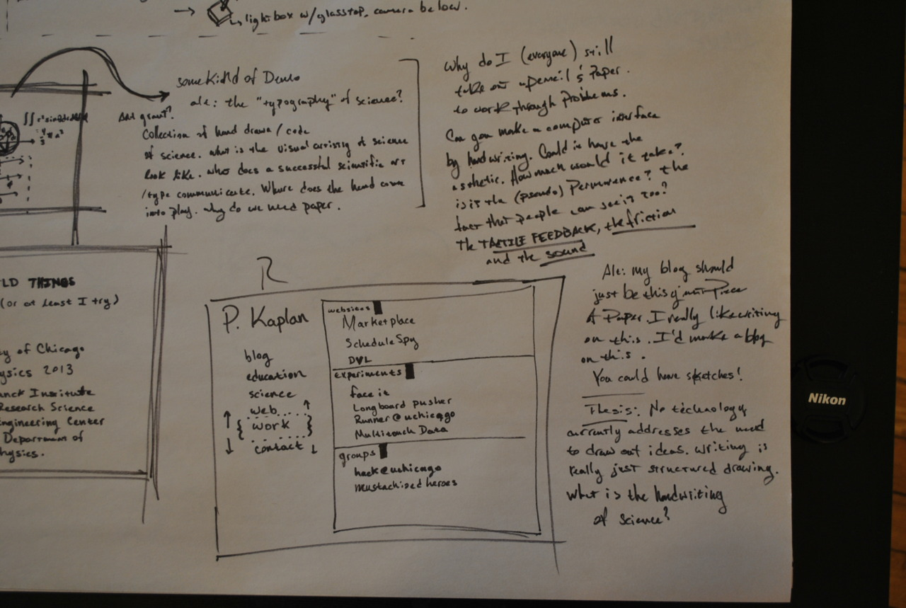 Personal site sketches and ideas for 'art of science handwriting' stuff