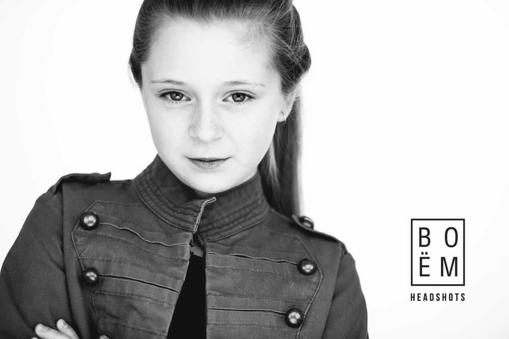 A professional headshot session for Ella, a young actress, by Andre Goosen for Boem Headshots, The premier headshot photographer