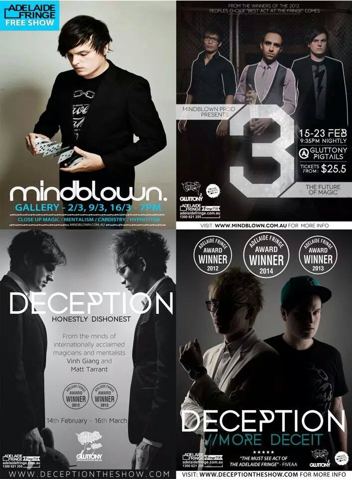All the posters I've done for Deception, Adelaide's top Fringe Act.