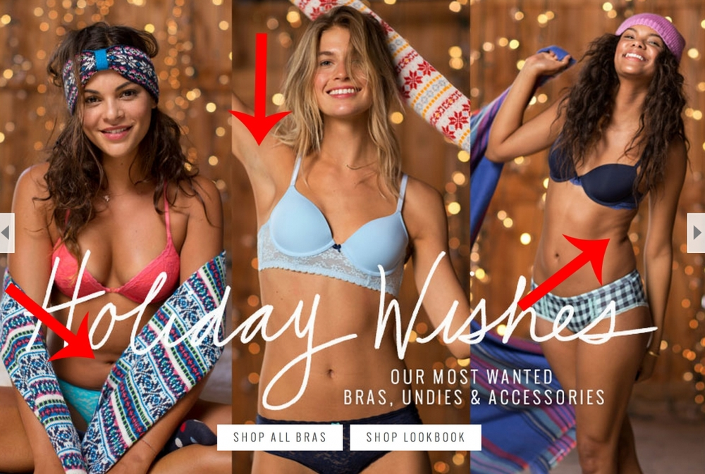 Some of the things retouching in campaigns will typically do away with - a little belly, armpits and the natural crease around the waist/hip area, all left in as part of the campaign to feature no retouching
