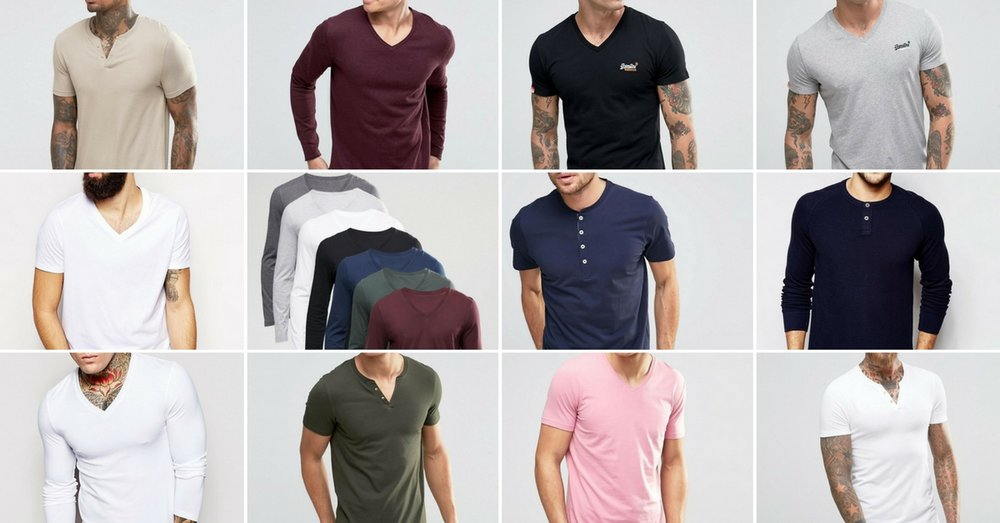 Earth tones, v-neck, grandfather neck, short sleeve, long sleeve... this is the basic start to a great headshot look - Bring it! Images found on ASOS.com