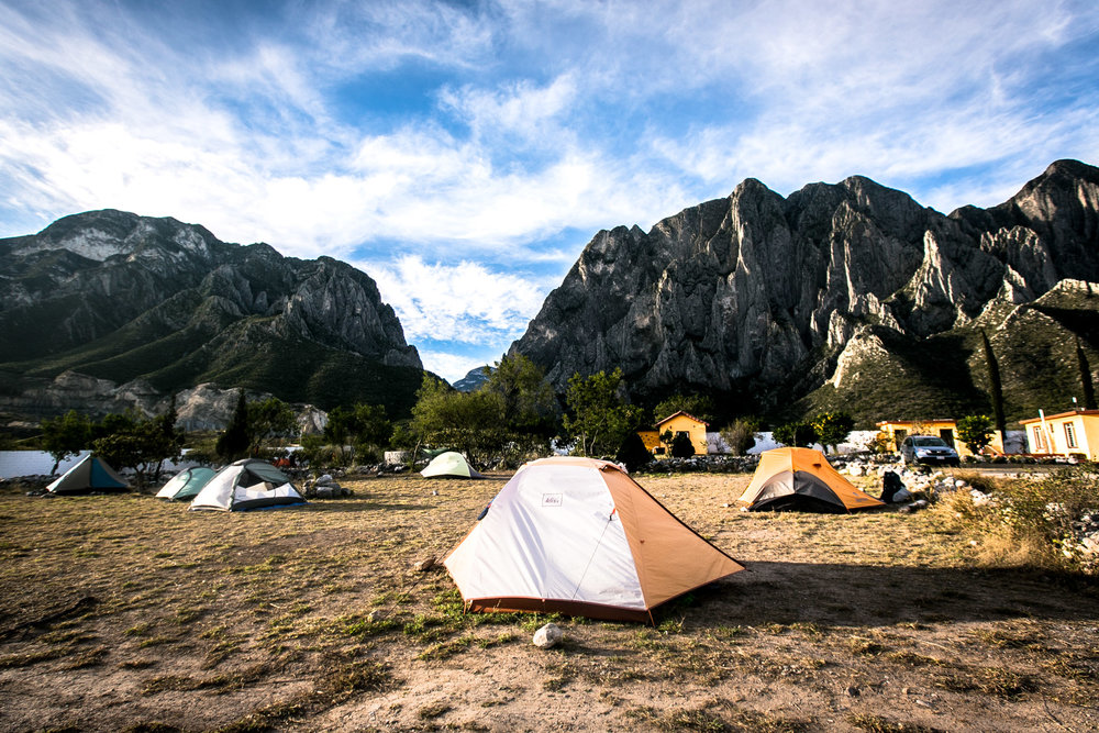 Rancho El Sendero offers quiet and beautiful views of the canyon where you can set up your tent, rent a room, a whole house, or a bed in the hostel. One thing El Potrero Chico doesn't lack is options.