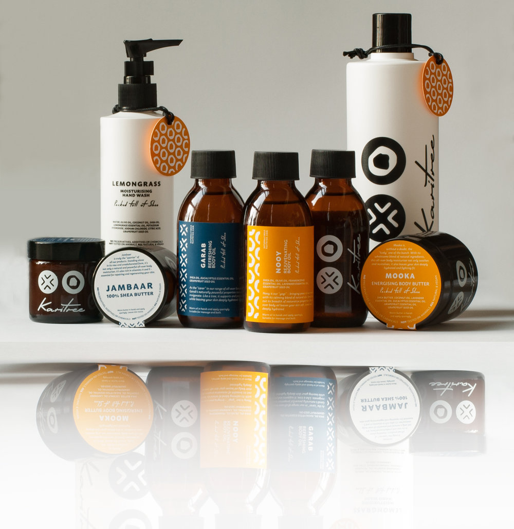 KARITREE (EU/MY) Branding, packaging, photography and E-commerce for a line of Shea-based body products.