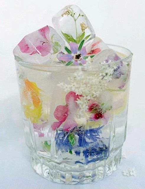 ice cubed flowers