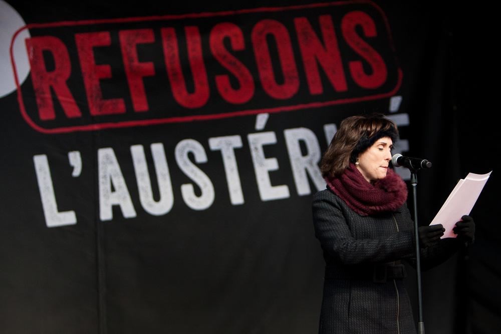 Geneviève Rioux, animatrice du spectacle àla Place des Arts organisépar la CSN.
