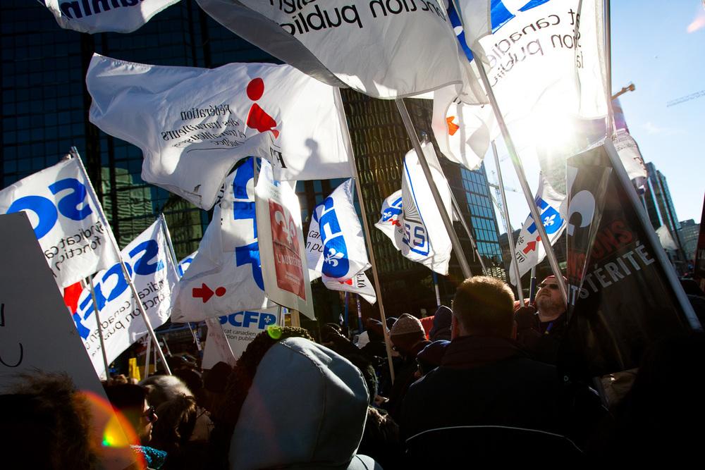 La manifestation a accueilli plusieurs grands syndicats du Québec.