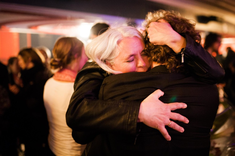 04/08/2014 Manon Massé learns she is officially elected for Québec Solidaire just after midnight on elections night at the Olympia.