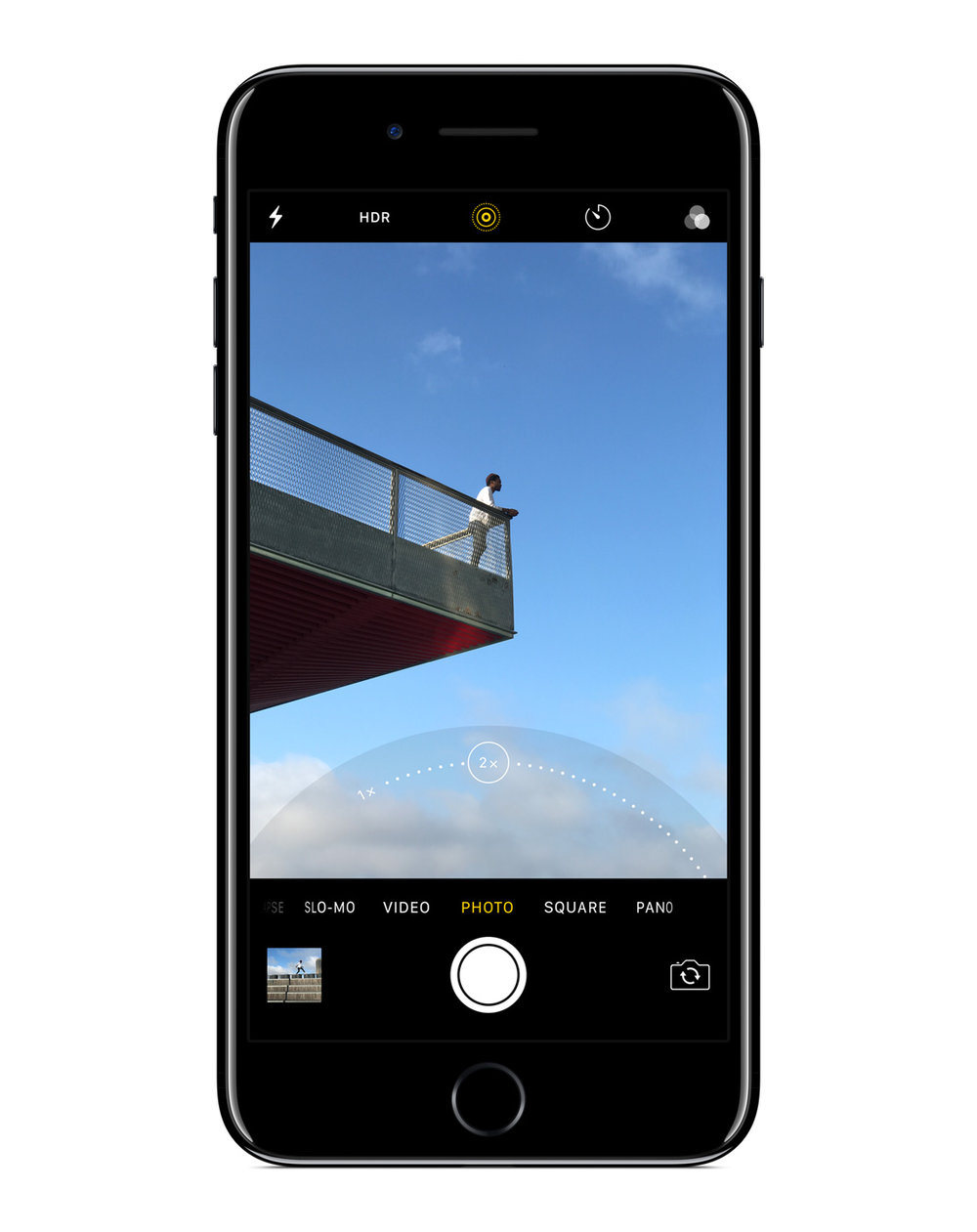 The iPhone 7 Plus' second lens will be used as a 2X optical zoom in the camera app. Since the older camera feels like a 28mm, the new one should be around 50mm.