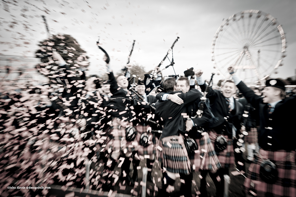 Field Marshal Montgomery Pipe Band celebrate their Grade 1 win at the World Pipe Band Championships in 2011.