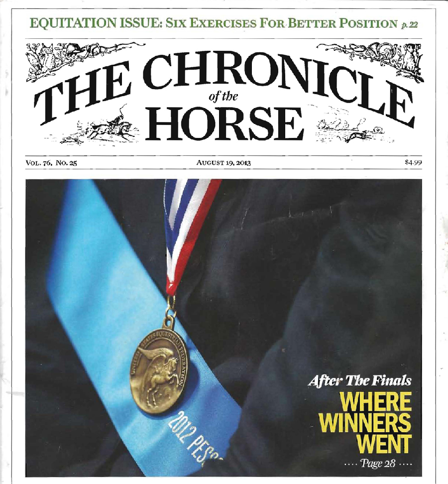Joey Brumbaugh featured within the August 19, 2013 edition of Chronicle of the Horse Magazine.