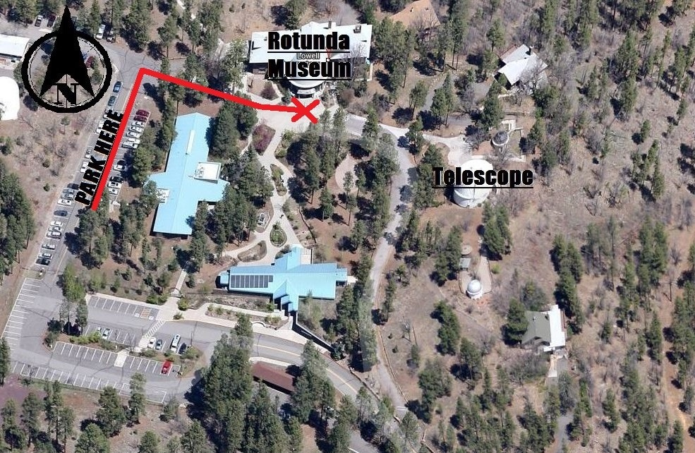 Map of the Observatory: please park in the Employee lot and proceed directly to the Rotunda.