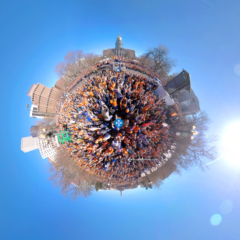 Tiny planet panorama captured at the Denver Broncos Super Bowl Parade. Click to watch in VR with one million people!