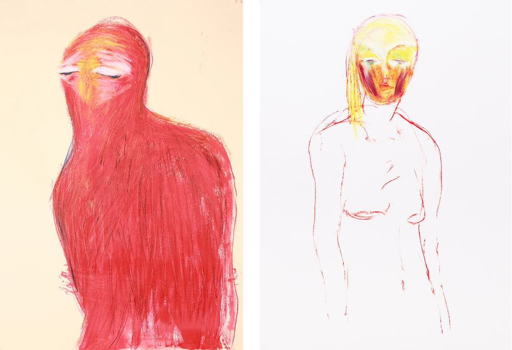 Left -  oil pastel and acrylic on paper / 100 x 70 cm / 2013   ;  Right -  oil pastel on paper / 110 x 90 cm / 2015