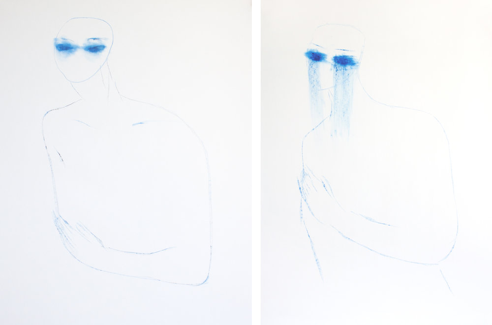 Left, right : oil pastel on paper / 100 x 70 cm / 2016