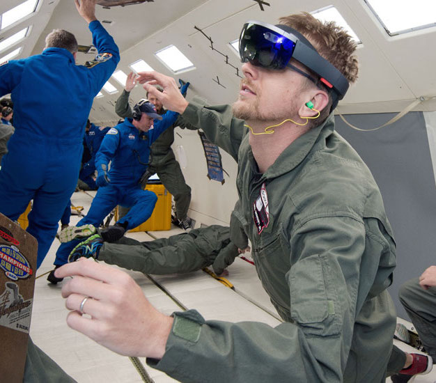 That's me!  Mixed reality in microgravity is every bit as cool as it sounds.