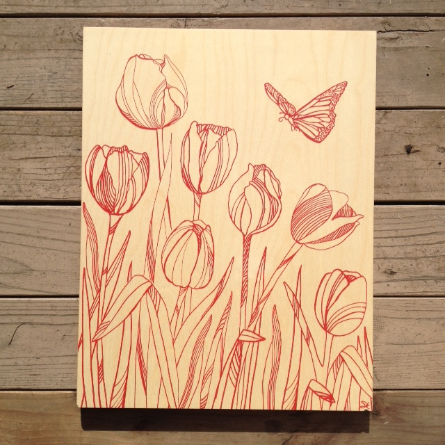 Tulips + Butterfly - 17x21 - $116 (red)