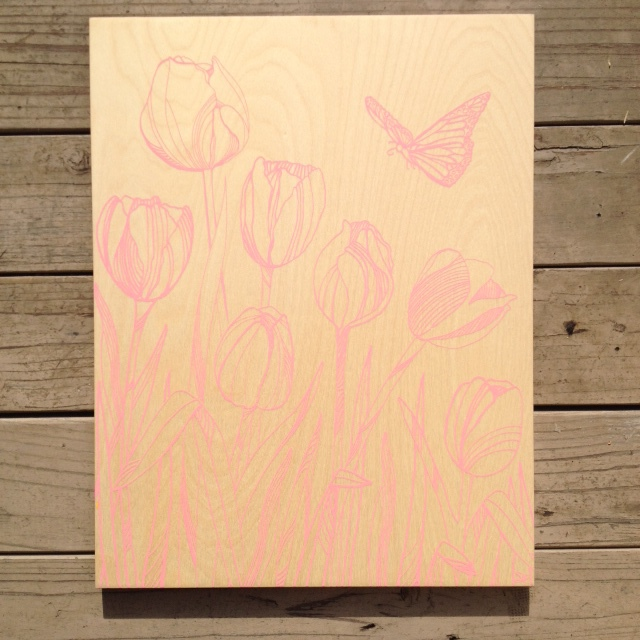 Tulips + Butterfly - 17x21 - $116 (pink)
