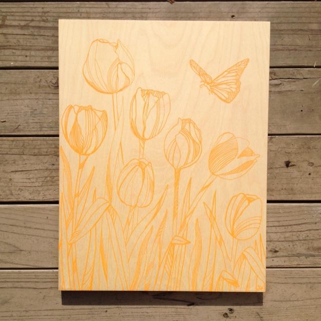 Tulips+Butterfly-17x21 - $116(tangerine)