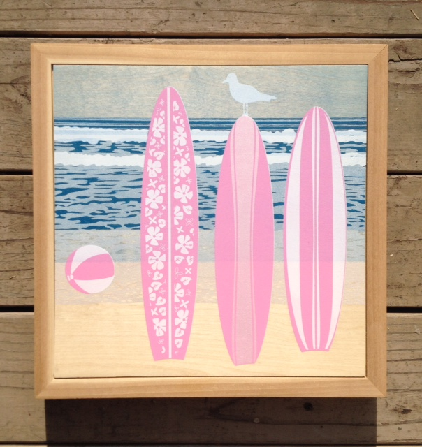 Malibu Beach with frame - 13.5x13.5 - $99