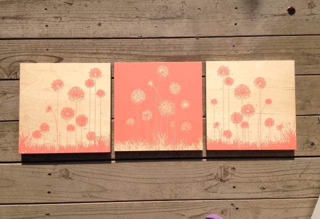 Dandelions(peach) 12x12 - $177/setof3