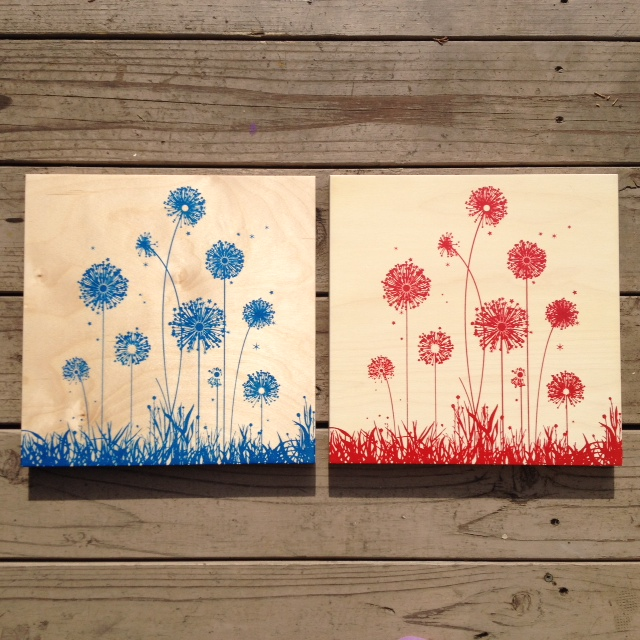 Dandelions-red or blue-12x12 - $65ea