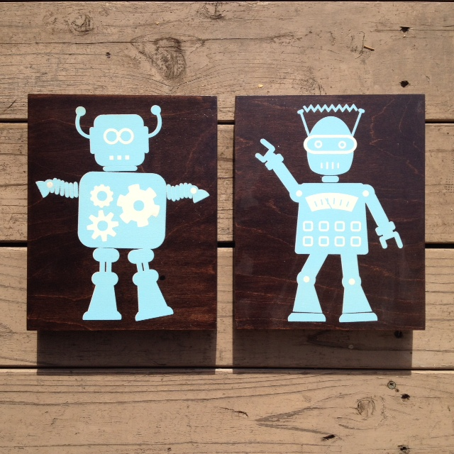 Popbot + Hustle bot (blue on espresso)