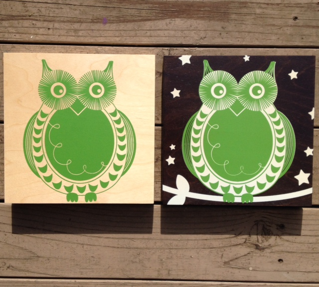 Owls-natural or dark wood-10x10-$56ea