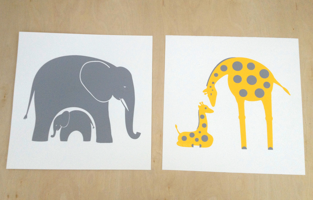 elephant and giraffe set