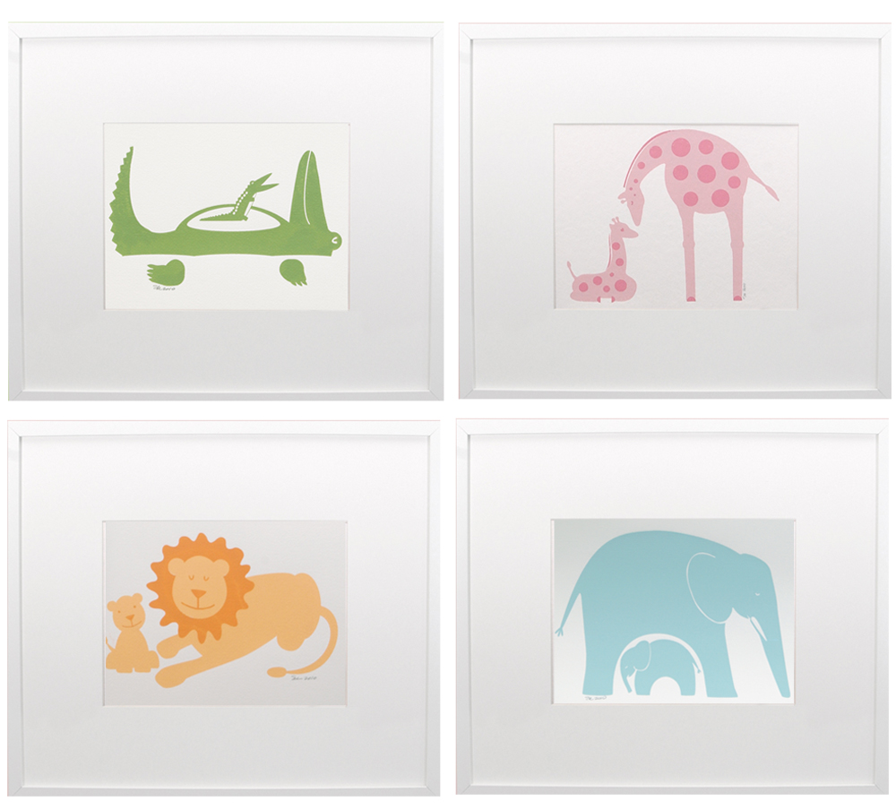 "Animals set of 4 12x12"" each"