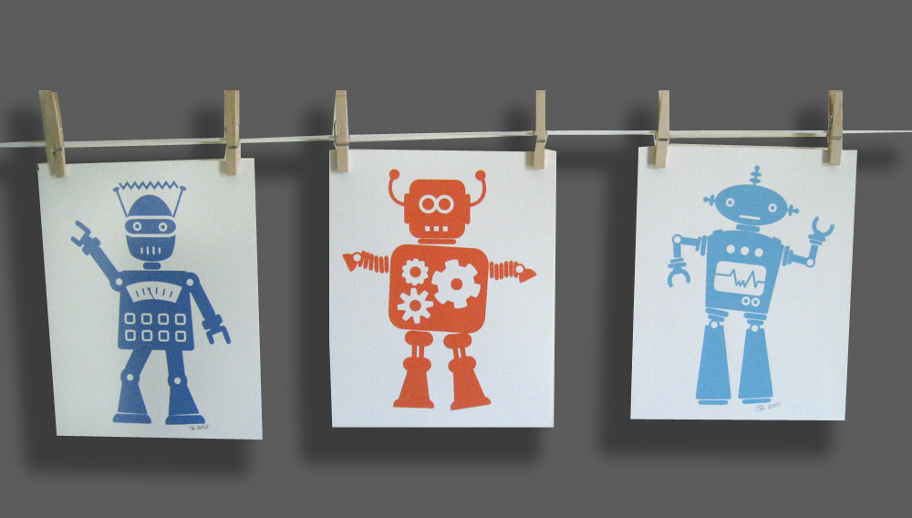 "Set of robots - 8""x10"" each"