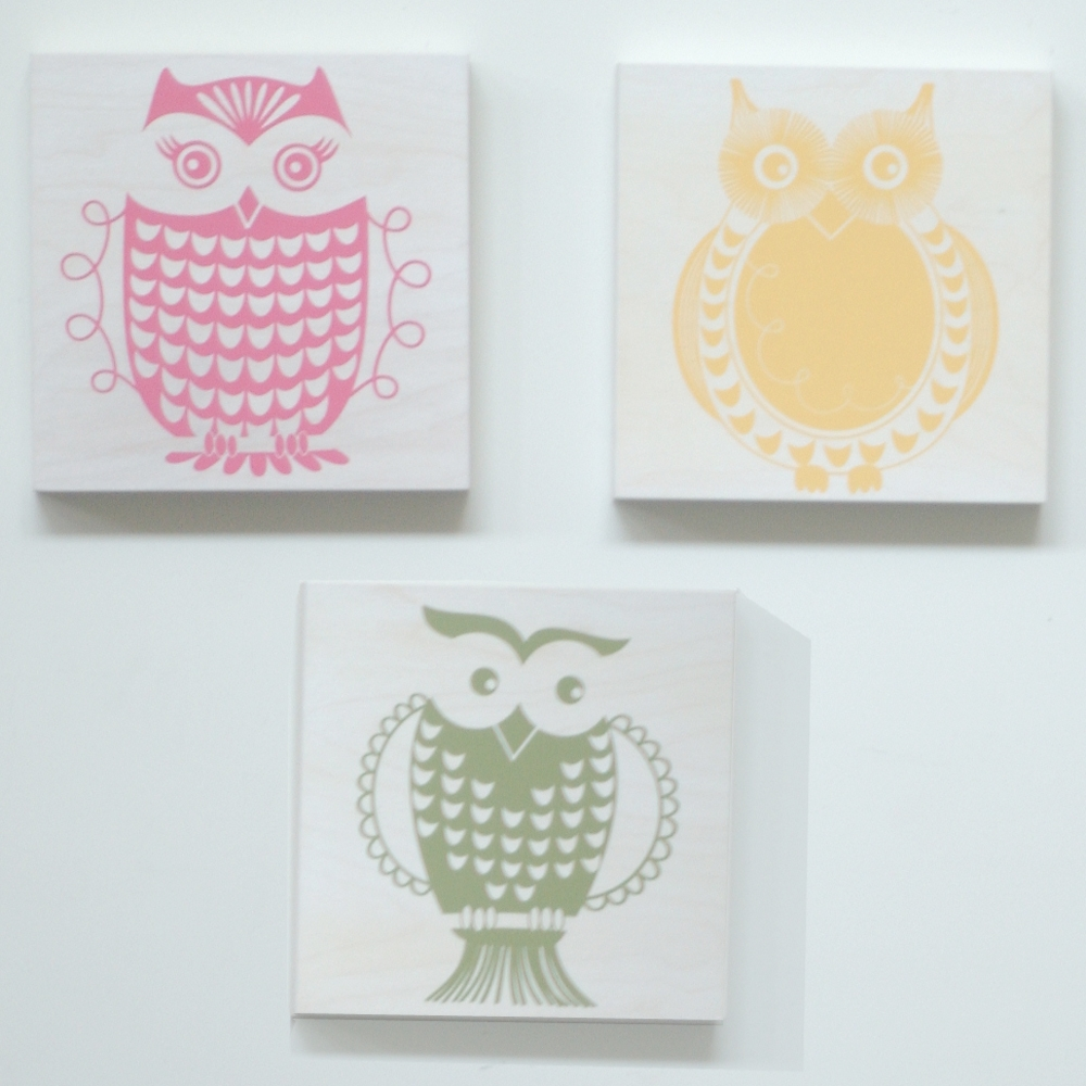 Owl set - on white or natural wood - $168