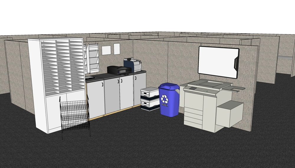 EXAMPLE OF MAIL ROOM/COPY ROOM SET UP (SEE FURNITURE SELECTS BELOW)