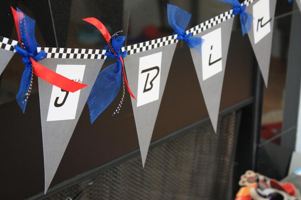 Race Car Theme Birthday Banner