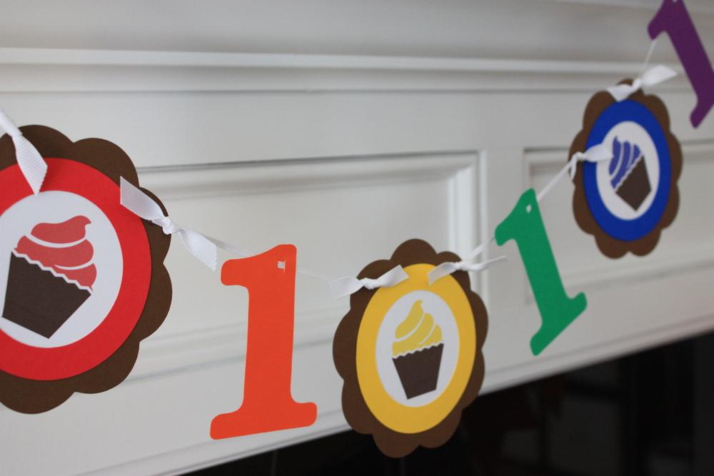 Rainbow Cupcake High Chair Banner